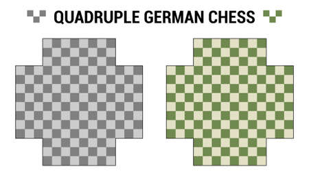 Quadruple German or European Chess. Two boards for 4 chess players with different color combinations. Vector boards template. Chessboard set view from above. Vector collection