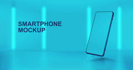 Studio background with 3D smartphone mockup in perspective position. Realistic mobile phone illustration with blank screen. Presentation smartphone in futuristic style and colors. Vector Mockup