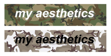 My aesthetics - slogan on military pattern for t-shirt design, merch, stickers, banners and other. Two print options my aesthetics are perfect for urban and sportswear. universal print. Vector set