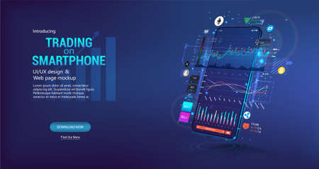 App for trading cryptocurrency on the phone. Template trading platform, web page concept. Smartphone App with UI, online statistic, data analytics and finance. Trends and financial strategy. Vector