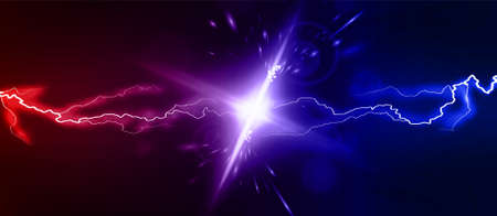 Lightning collision red and blue background, versus banner. Powerful colored lightnings and the flash from the collision. Confrontation concept, competition vs match game. Versus battle. Vector