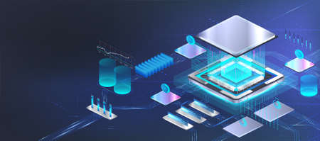 CPU microchip banner in isometric. Futuristic processor microchip with components installed on motherboard. Isometric illustration Ð¡ircuit board CPU. Hi-tech microchip and microprocessor AI. Vector Vettoriali