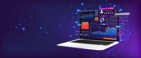 Dashboard Application on laptop with business analytics data, charts and graphics on perspective laptop. Web banner, concept statistics graphs, investment, trade and finance management. Vector Vettoriali