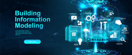 BIM - Building Information Modeling concept banner. Hologram 3D model buildings with icons and aspects BIM. Architecture building industry - modeling, construction and information. Vector banner Vettoriali