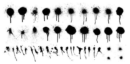 Black ink spots and blots with drip lines grunge isolated on white background. Grunge texture template. Street graffiti elements with splashes and spray effect. Vector ink spots and blots collection