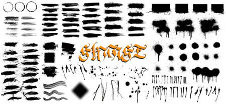 Very nice collection grunge, hi level traced. Grunge texture - brush stroke, spray graffiti, drops, brush lines, splashes, ink strokes and other. Ink artistic design texture. Vector set