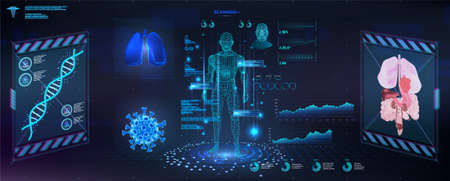 Futuristic examination of the human body with a HUD interface. Modern healthcare Research of human health, polygonal hologram human body x-ray. GUI, UI, HUD for medicine app. Body scan. Vector