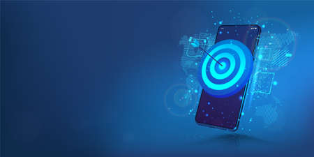 Darts target on smartphone display. The concept of success, achieving goals and in the direction and development of a company, startup or mobile App. Business target, success, accuracy concept. Vector Vettoriali