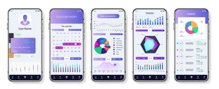 Light application interface for mobile phone. UI screens with dashboard, pie charts, infographics, diagrams and statistic. App mockup with investment, economic statistic and data forex. Vector UI set