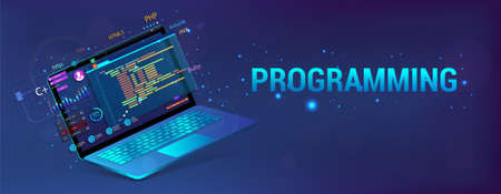 Banner Software Development. Programming, Web Site and App. Laptop with code and UI, UX interface. Development Software concept - coding, testing, usability, programming, design. Vector illustration