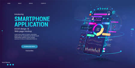 Web banner Business App with smartphone in perspective position. Financial analysis and data statistic. Presentation concept App, UI, UX design, capabilities. Trading and stock market forex. Vector