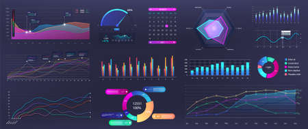 Graphics infographic, template dashboard with info elements - charts, diagrams, data analytics, infographic and online statistics. Vector Mockup panel with UI, UX, KIT design elements. Vector graphic