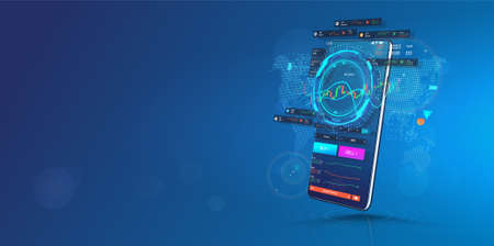 Trade Cryptocurrency in Smartphone Application. Template web banner. Trading platform for Cellphone. Crypto market, data analytics and Trends and financial strategy. Cryptocurrency trade app. Vecto