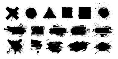 Black grunge splashes stencil with frame. Graffiti spray paint, different shapes. Dirty artistic design elements with frame for text. Grunge box with ink brush strokes and spray splash. Vector set Illustration