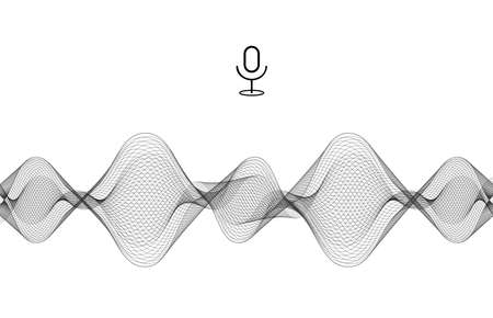 Audio wave equalizer. Black and white isolated vector illustration. Microphone voice control technology and sound voice equalizer. Vettoriali