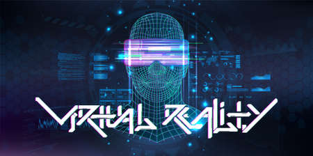 Virtual reality cyberspace with human or AI hologram. 3D Polygon head of a man with virtual reality glasses with HUD, GUI interface. Futuristic banner VR with lettering. Blue vector illustration
