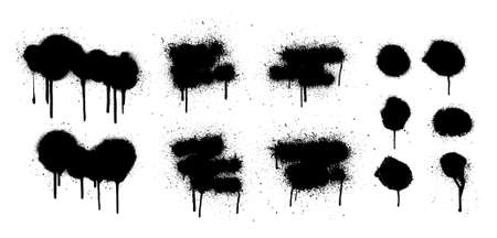 Hand drawn spray graffiti template. Texture ink with splashes and drips of paint on a white background. Grunge graphic stencil elements. Dirty graffiti spray effect. Street art. Vector collection
