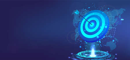 Goal achievement concept. Business banner template with 3D Goal, hologram and world map. Target for darts with an arrow to the bulls eye. Success, achievement, precision. Vector illustration victory
