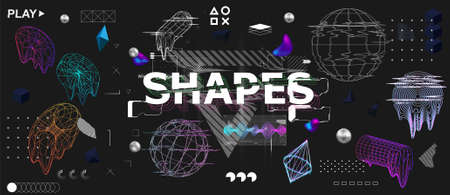 3D shapes and trendy universal elements with glitch, bag and liquid effects. Retrofuturism shapes collection in memphis and vaporwave style. Glitch objects, design elements. Cyberpunk neon vector set