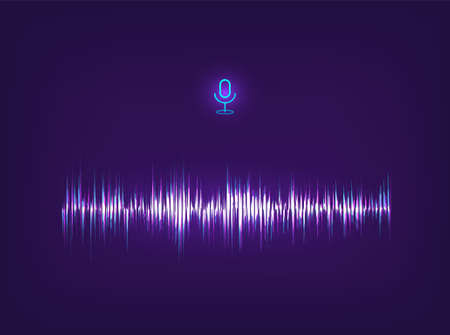 Voice assistant AI and equalizer sound recognition. Futuristic sound wave concept. Futuristic Frequency audio waveform and music wave. Hi-tech AI technology. Microphone voice control. Vector