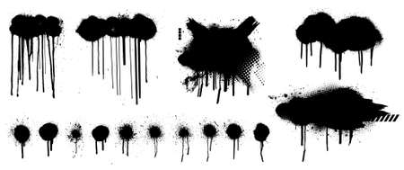 Template Spray Graffiti by hand drawn. Stencil mockup black grunge dots, clouds and dripping paint. Grunge graphic texture mockup. Vector spray paint with smudges and drops. Vector collection