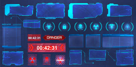 HUD screens, frames collection. Futuristic hi-tech elements interface. Screens for GUI, UI, APP, games. Info panels, callouts titles and holograms frames screen. Digital info boxes template. Vector Ilustracja