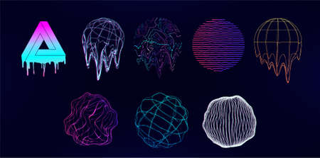 Retro futuristic Universal shapes - spheres and circle elements with glitch, defect, or liquid effect. Design memphis elements in vaporwave and synthwave style. Vector glitch shapes on 80s-90s. Vector