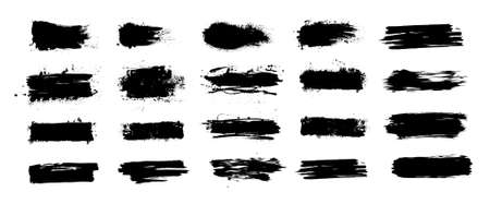 Mud splashes collection. Grunge brushstroke stencil with dirt spray effect. Black inked brushes with spray splash with drops blots. High quality manually traced. Vector mud splashes set