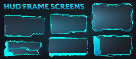 Screens HUD, UI, GUI, Futuristic User Interface Frames. Callouts titles and Sci-fi digital boards collection. HUD elements for video games, apps, movie. Holograms screens. Vector set info frames Illustration
