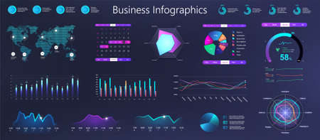 Workflow graphics, charts and diagrams. Dark gradient infographic for business information marketing presentation. Neon business infochart elements. Workflow for Mobile App UI, UX, KIT. Vector set