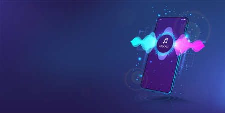 Voice assistant in smartphone. Mobile phone Mockup with sound wave. Concept microphone voice control. Sound recognition and AI assistant. Cellphone with wave flow, equalizer, voice record. Vector Ilustracja