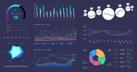 Modern infographic marketing data presentation. Graphic, circle infochart, diagram, online statistics, data analytics and other colorful elements for presentation, UI, UX, Web. Vector graphics set Illustration