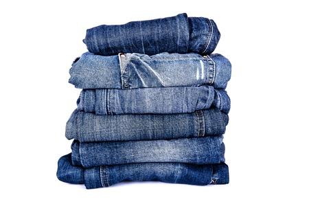 in jeans: pila de jeans  Foto de archivo