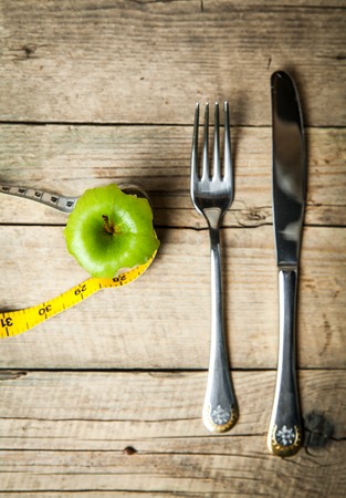 centimeter: Apple and centimeter. Sport healthy food.