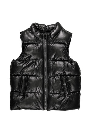 vest in isolated: Black winter vest. Isolated on white background. Stock Photo