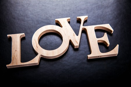 fails: text love on black background