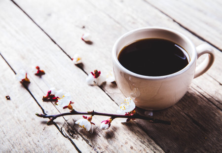 Cherry blossoms on a wooden background with a cup of coffee photo