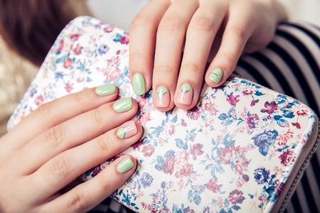 beautiful turquoise manicure. fashion Stock Photo