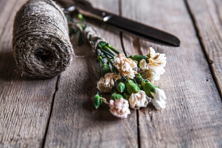 faded: Faded carnations with old scissors and old thread, vintage