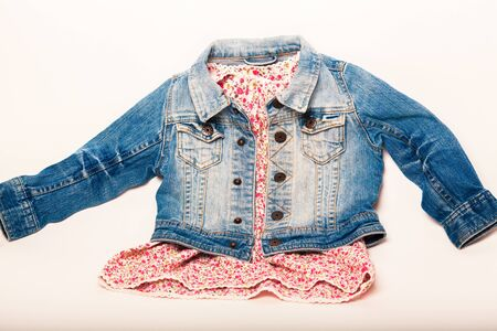 denim jacket: denim jacket combined with a beautiful red dress