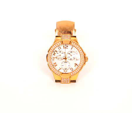 chronograph: golden watch isolated on a white background Stock Photo
