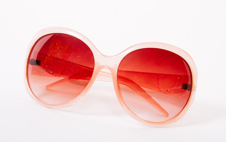 perceived: Through rose-colored glasses the world looks much more optimistic. Stock Photo