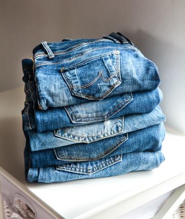 denim jeans: Lot of different blue jeans Blue Jeans Stock Photo