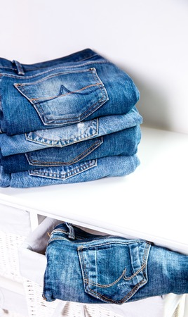 cotton  jeans: Lot of different blue jeans Blue Jeans Stock Photo
