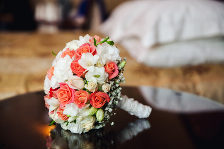 Wedding bouquet with roses. Stock Photo