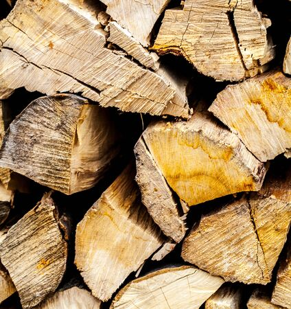 woodpile: Background of dry chopped firewood logs in a pile