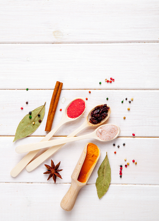 svan: Spices on a white background. Nicely laid out