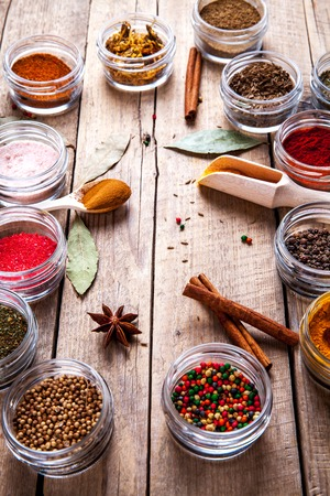 barberries: Set of Spices on wood background. Food