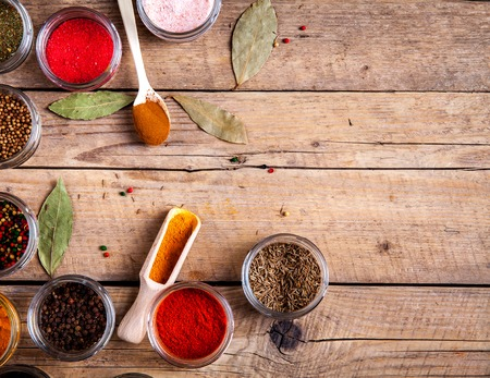 variability: Set of Spices on wood background.