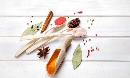 variability: Spices on a white background. Stock Photo